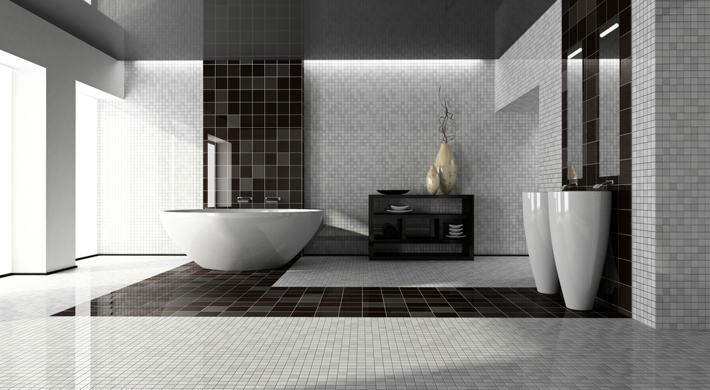 Ceramic tile modern bathroom black gray tile