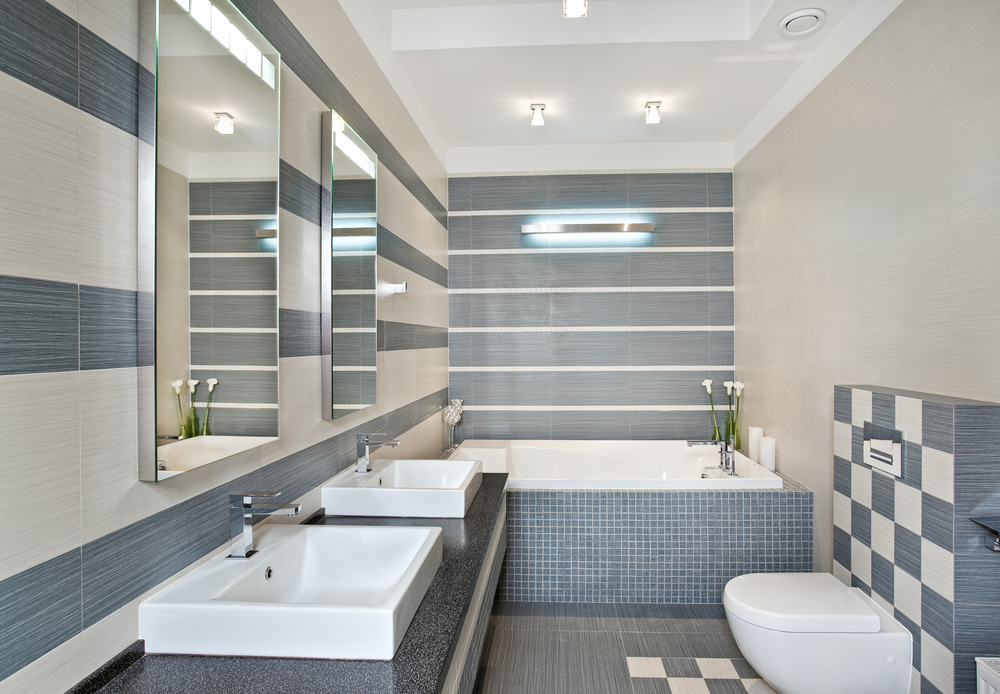 Blue Gray Tiles Pattern Bathrooms