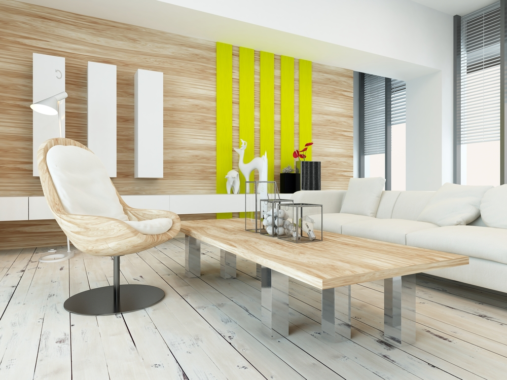 Light Wood Wall Paneling Yellow Accent