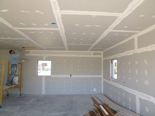 of drywall shower basement in hanging ceilings how a to door save cost installing install ceiling