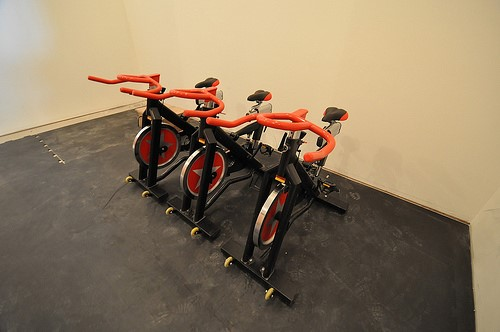 Exercise bikes on rubber flooring