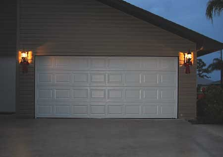 Steel garage door in the evening