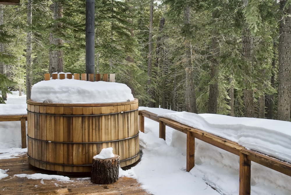 Snow-covered hot tub