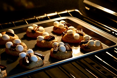 S'more cookies baking in the oven
