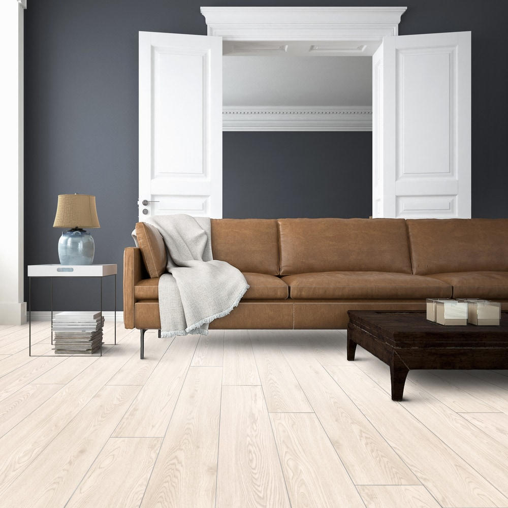 Just peel and stick this wood-look vinyl to a flat and dry surface for an efficient flooring installation. Featuring Vesdura Vinyl Planks 1.2mm PVC Peel & Stick Sterling Collection in White Oak